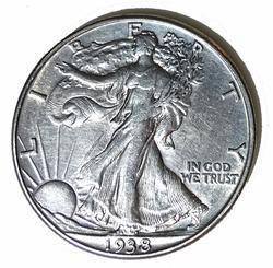 1938 D Near Unc plus Semi Key Walking Liberty Half Dollar