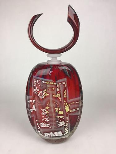 Darling Rare Hand Blown French Art Glass Flacon, Signed by the Artist