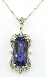 12+ctw Tanzanite & Diamond Pendant, AAA Quality