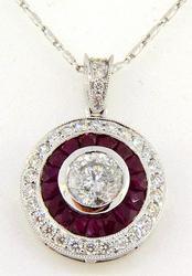 Ladies 18kt Gold Diamond & Ruby Pendant