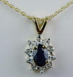 Sapphire & Diamond 10K Pendant & 14K Chain