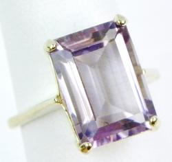 8.5 CT Emerald Cut Amethyst Ring in Sterling