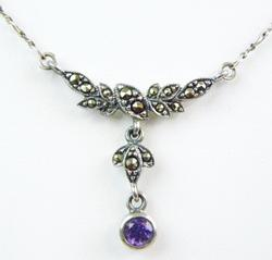 Pretty Marcasite & Amethyst Sterling Necklace