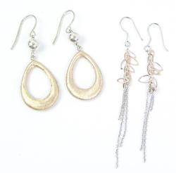 2 Pairs of Rose Gold over Sterling Earrings
