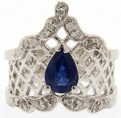 14kt Gold Sapphire & Diamond Chevron Style Cocktail Ring