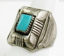 Men's Sterling Turquoise Ring, Size 10