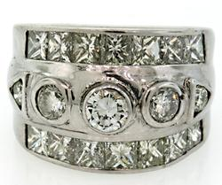 18K Wide Band Multi Diamond Band