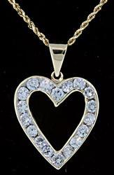 Channel Set Diamond Heart Pendant Necklace