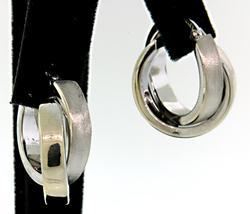 Stylish Double Hoop Earrings in White Gold