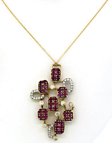 Fancy 7ctw Ruby & Diamond Pendant, 18kt