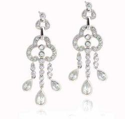 Sterling Silver Designer Simulated Diamond CZ Designer Chandelier Earrings