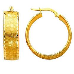 14k Yellow Gold Designer Beveled Hoop Earrings