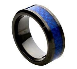 Ceramic with Blue Carbon Fiber Inlay Mens/Womens Wedding Ring Band (8mm)
