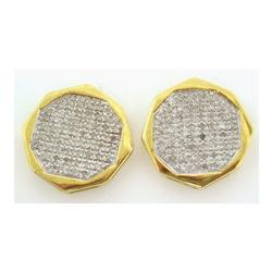 10k Yellow Gold 0.50Ctw Round Micro Pave Diamond Mens Earrings