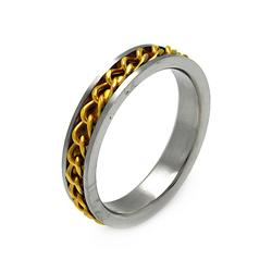 Mens Stainless Steel Jewelry Gold Plated Chain Band Ring Width: 5.2Mm