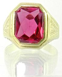 Vintage Men's Synthetic Ruby Ring