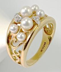Lovely Pearl & Diamond Cluster Ring