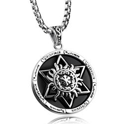 Six star totem licensing round stainless steel mens Vintage Jewelry Pendant