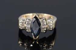 Sapphire Marquise Diamond Cocktail Ring in 14kt gold