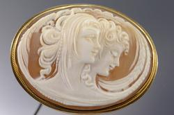 Carved Cameo Two Women Scene Pin/Brooch