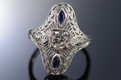 Art Deco 0.45 Ct Diamond 0.20 Ctw Sapphire Engagement Ring