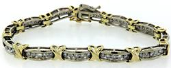 Two Tone X Link Diamond Bracelet