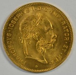 Superb Gem BU Austria 10 Francs Gold Piece dated 1892