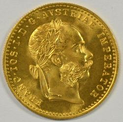 Semi-Prooflike Gem BU Austria 1 Ducat Gold Piece dated 1915