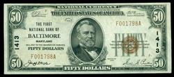 Scarce 1929 Series $50 National of Baltimore, MD (1413)