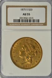 Nearly BU 1875-S Ty 2 $20 Liberty Gold Piece. NGC AU55