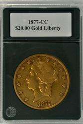 Super Rare 1877-CC $20 Liberty Gold Piece in XF