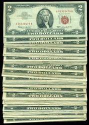 Great lot of 50 nicer Series of 1963 $2 Red Seal Notes
