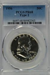 Near Perfect 1956 Franklin Half Dollar. PCGS PR68