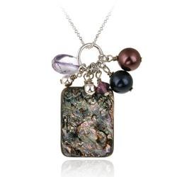 Sterling Silver Abalone, Swarovski Pearls & Crystals Cluster Pendant
