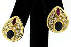 Teardrop 18K Earrings with Diamonds, Rubies & Sapphires