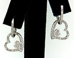 Diamond Huggie Earrings with Heart Dangles