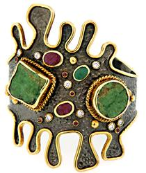 Abstract 2 Tone Cuff with Rubies, Emeralds and CZs