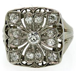Vintage Diamond Flower Ring in Platinum
