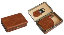 Visol Executive Brown Leather Cigar Case With Cutter - Holds 5 Cigars