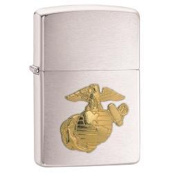 Zippo US Marines Emblem Brushed Chrome Lighter