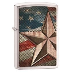 Patriotic Retro Star Brushed Chrome Zippo Lighter