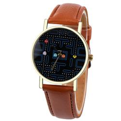 PacMan Retro Quartz Watch with Leather Band