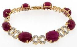 Designer Cabochon Ruby and Diamond bracelet 50+cttw!