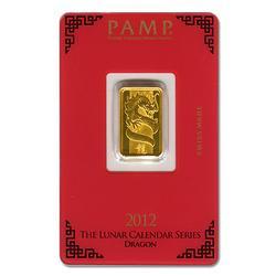 PAMP Suisse 5 gr Gold Bar 2012 - Dragon Design