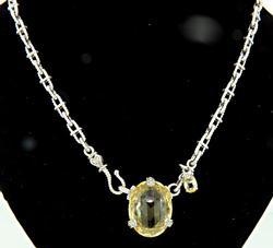 Judith Ripka Lemon Quartz & Diamond Necklace
