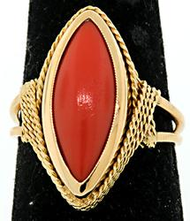 Vintage Marquise Coral Ring in 18K