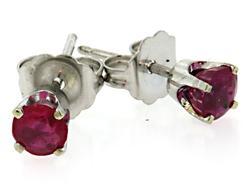 Striking Pink Sapphire Stud Earrings