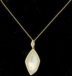Freeform White Quartz & Diamond Pendant Necklace