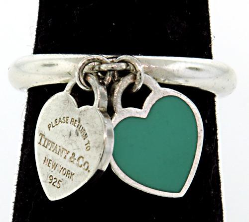 Tiffany & Co Double Heart Charm Ring in Sterling
