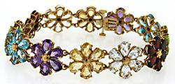 Colorful Multi Gemstone Flower Bracelet in 10K